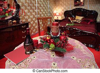 asztal, ünnep, hálószoba