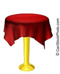asztal, abrosz, üres, piros