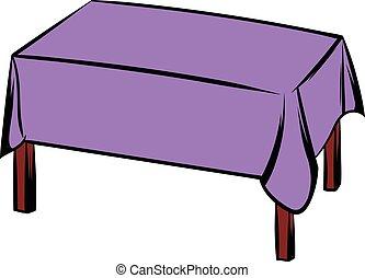 asztal, abrosz, karikatúra, ikon
