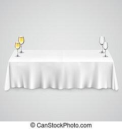 asztal, abrosz, szemüveg