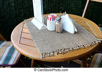 asztal, alatt, a, külső, nyár, kávéház
