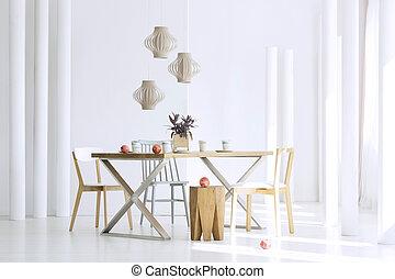 asztal, alatt, ebédlő