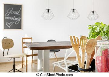 asztal, alatt, megvendégel térség