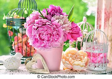 asztal, csokor, kert, babarózsa, váza