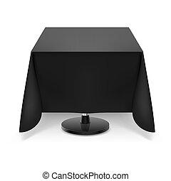asztal, derékszögben, fekete, tablecloth.