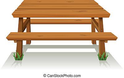 asztal, erdő, piknik