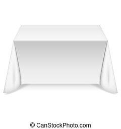 asztal, fehér, abrosz, derékszögű