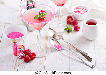 asztal, fehér, málna, martini