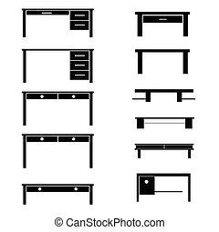 asztal, fekete, vektor