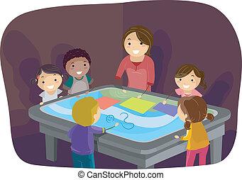 asztal, gyerekek, felszín, egymásra kölcsönösen ható