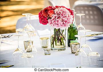 asztal, hortenzia, lakberendezési tárgyak