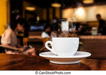 asztal, kávécserje, kávéház, csésze