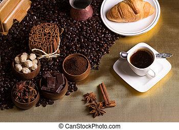 asztal, kávécserje