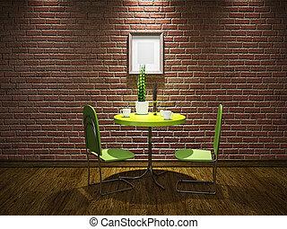 asztal, kávéház, zöld