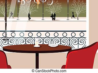 asztal, két, önkiszolgáló étterem