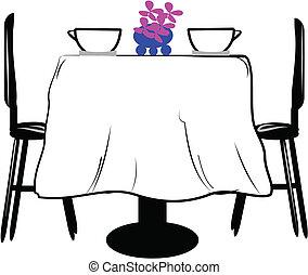 asztal, két