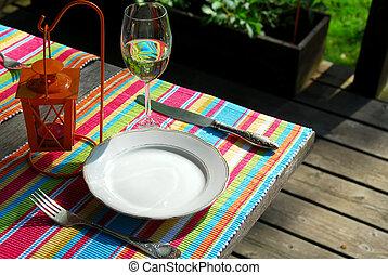 asztal, kívül, beállítás