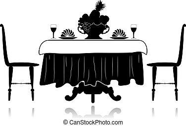 asztal, kevés, étterem