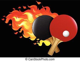 asztal, lángoló, állhatatos, tenisz