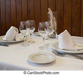 asztal letesz, alatt, egy, étterem