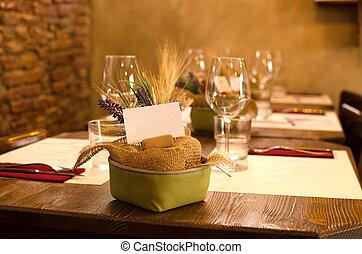 asztal letesz, helyett, vacsora, alatt, a, étterem