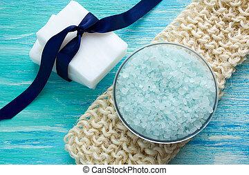 asztal, luffa, szerves, fából való, kék, természetes, só, szappan, tenger