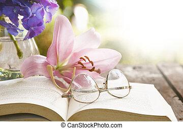 asztal, menstruáció, könyv, öreg