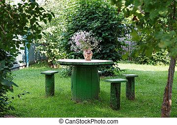 asztal, menstruáció, kert, váza