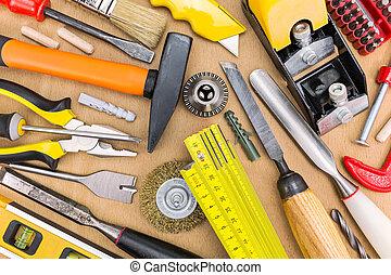 asztal, munka, eszközök, dolgozó