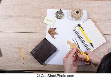 asztal munka, eszközök, művészet, kéz, kellék