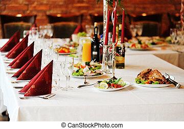 asztal, noha, táplálék ital