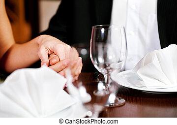 asztal, párosít, étterem, hatalom kezezés
