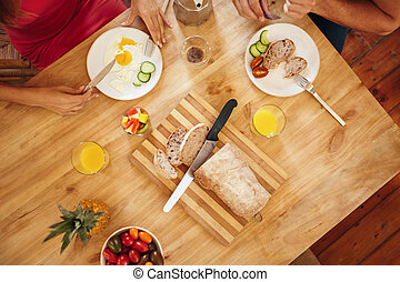 asztal, párosít, eszik reggeli, reggel
