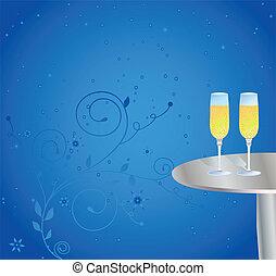 asztal, pezsgő pohár