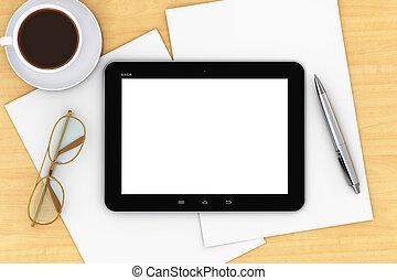 asztal, számítógép, tabletta, hivatal