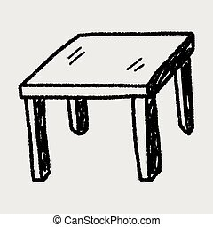 asztal, szórakozottan firkálgat