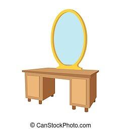 asztal tükör, karikatúra, ikon, öltözet