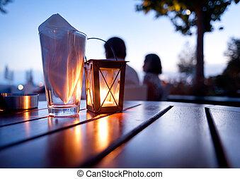 asztal, tengertől távol eső, étterem