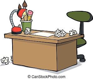 asztal, tervező, karikatúra