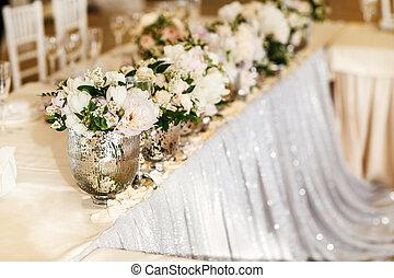 asztal, váza, virág, bouquets, esküvő
