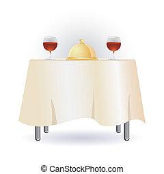 asztal, vacsora
