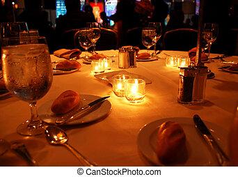 asztal, vacsora, díszünnepély