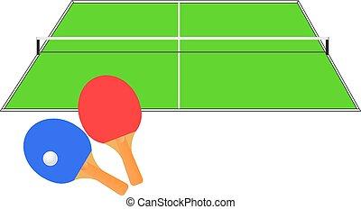 asztal, vektor, illustration., tennis.