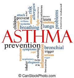 asztma, fogalom, szó, felhő