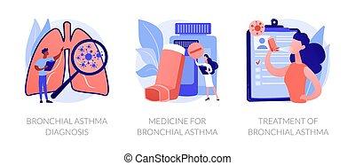 asztma, vektor, fogalom, metaphors.