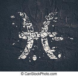 asztrológia, fish, symbols., aláír