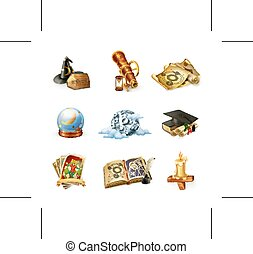 asztrológia, vektor, ikonok