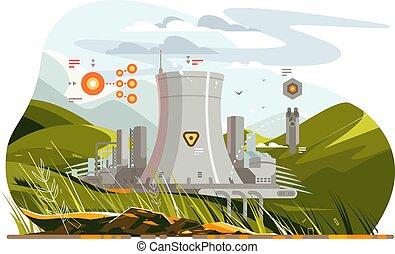 atômico, reator, modernos