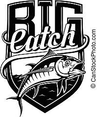 atún, emblem., amarillo, catch., grande, plantilla, diseño, pesca, aleta, fish., -