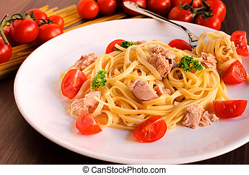 atún, espaguetis